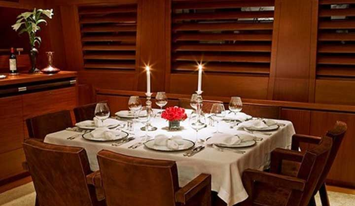 the superyacht ketch Ethereal has a lovely dining room