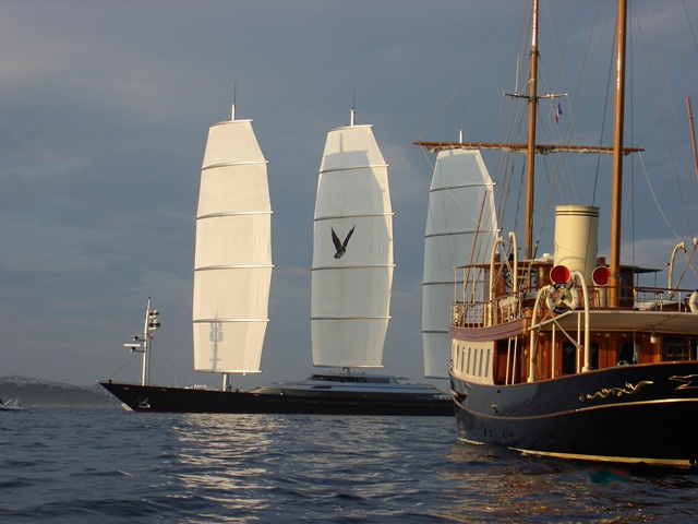 the classic megayacht Atlantide with the Maltese Falcon