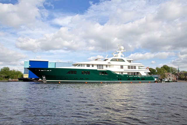 Feadship Sea Owl leaving the shed - 1