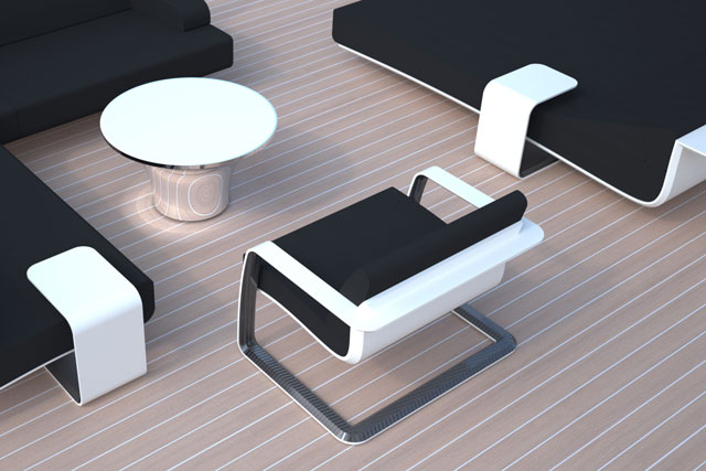 Van Geest Design megayacht deck furniture
