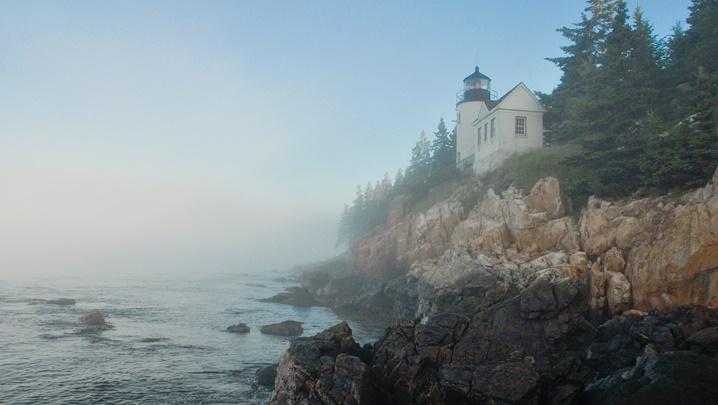 Destination Guide New England Bass Harbor Lighthouse fog Maine