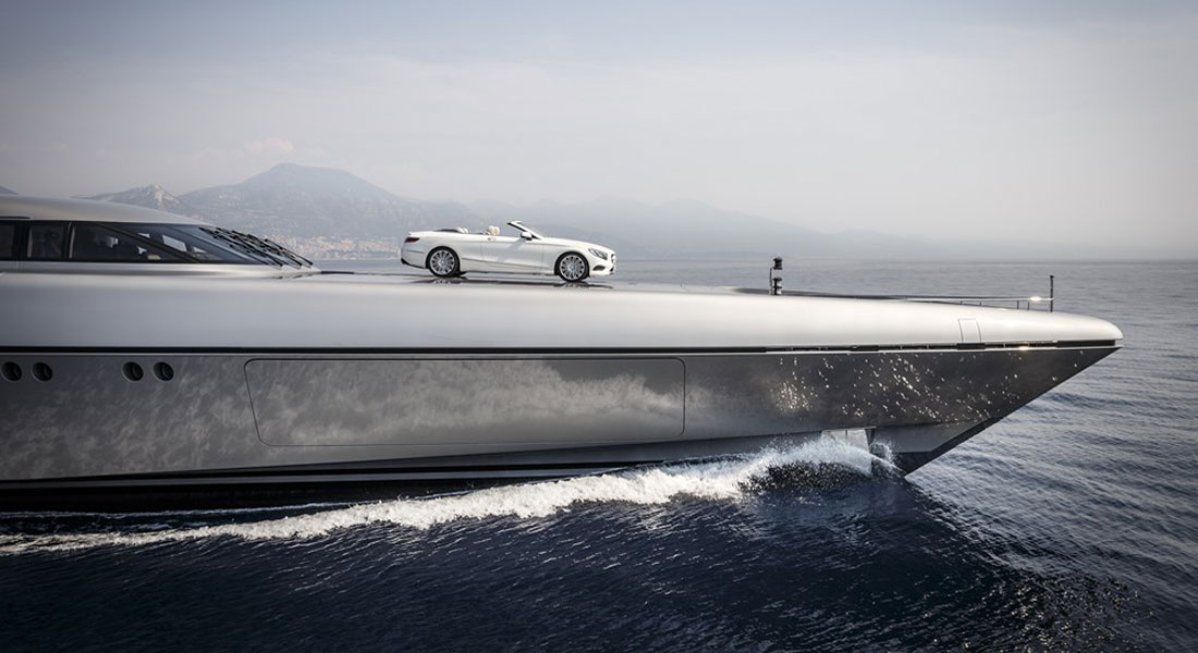 Silver Fast helipad Mercedes S Classs Cabriolet