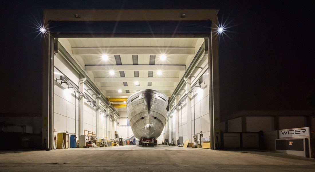 Wider Genting Hong Kong Wider 165 project Cecilia superyacht in shed