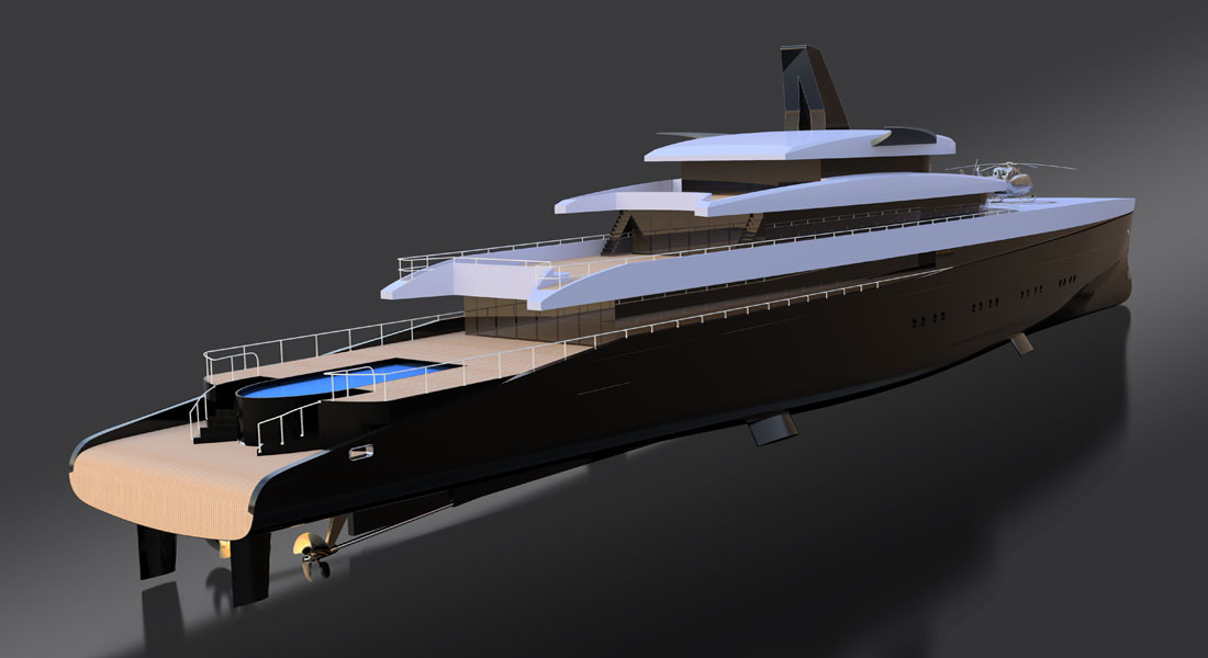 Laurent Giles Naval Architects HEMY concept megayacht