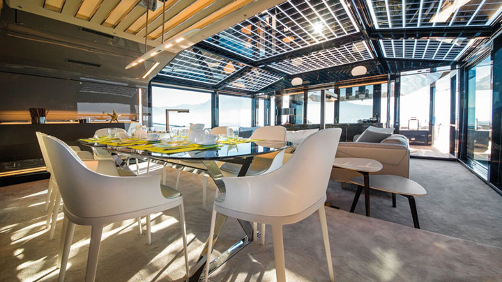 Arcadia Yachts A85 megayacht saloon and dining winter garden