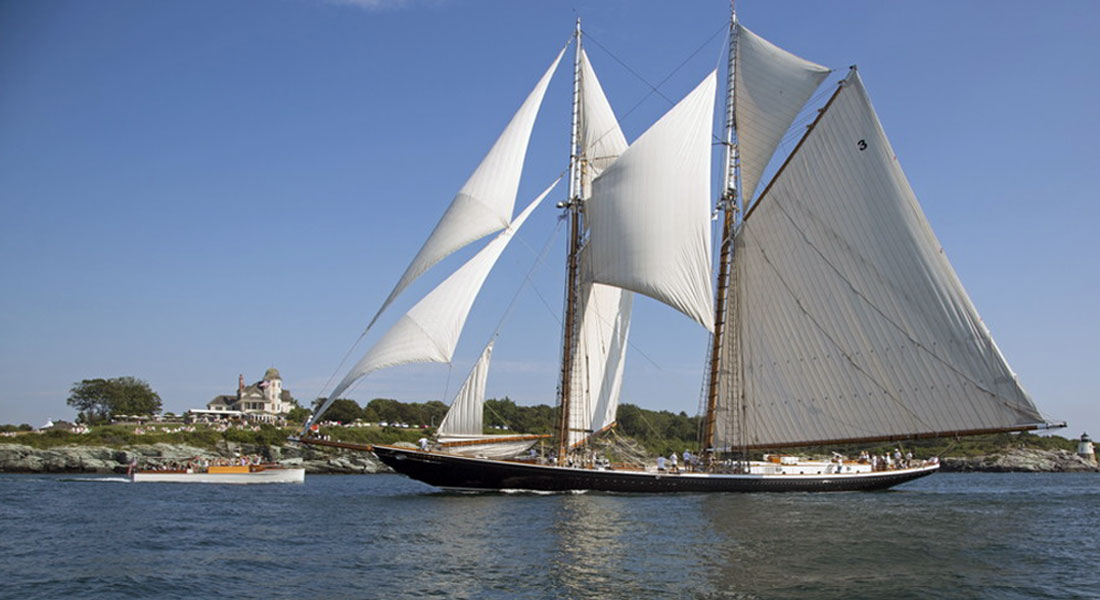 sailing superyacht Columbia off Castle Hill Candy Store Cup