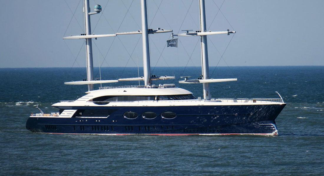 Oceanco Black Pearl sailing superyacht on sea trials