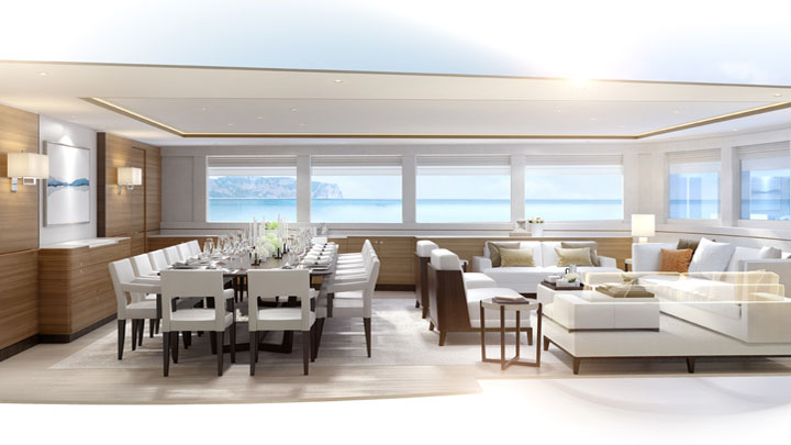 Royal Huisman Project 400 superyacht sloop saloon and dining area