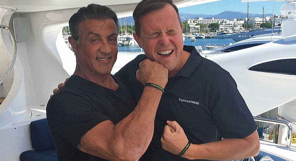 Sylvester Stallone aboard superyacht with Capt Simon MacKay Cogs4Cancer