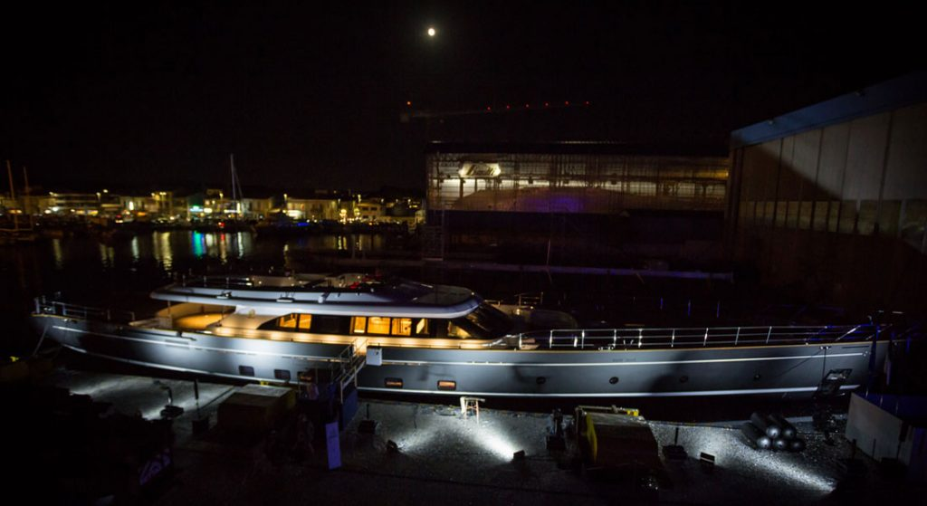 Perini Navi sailing superyacht Seven launch