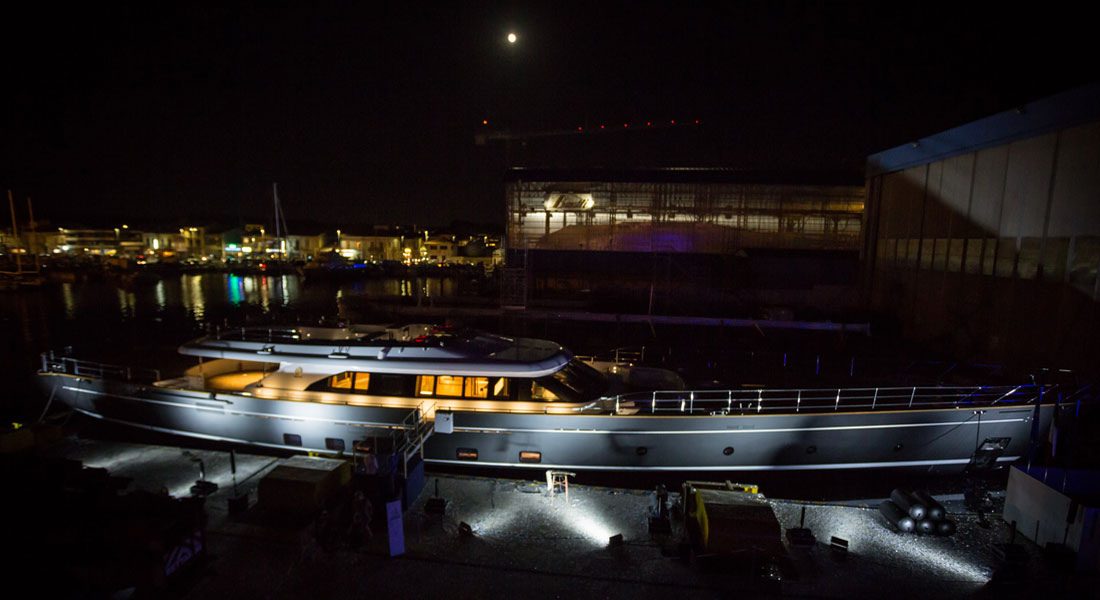 Perini Navi sailing superyacht Seven launch