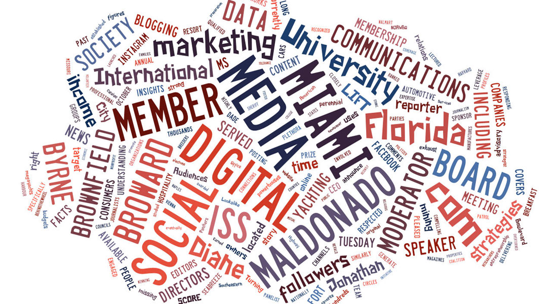 International Superyacht Society social media panel word cloud