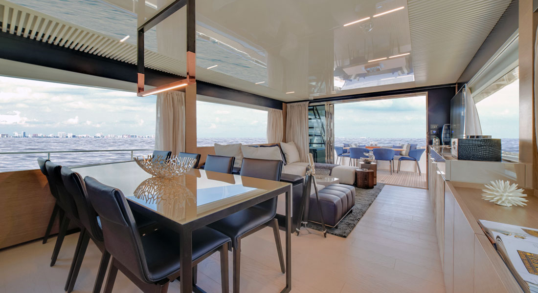 Ferretti 780 megayacht saloon