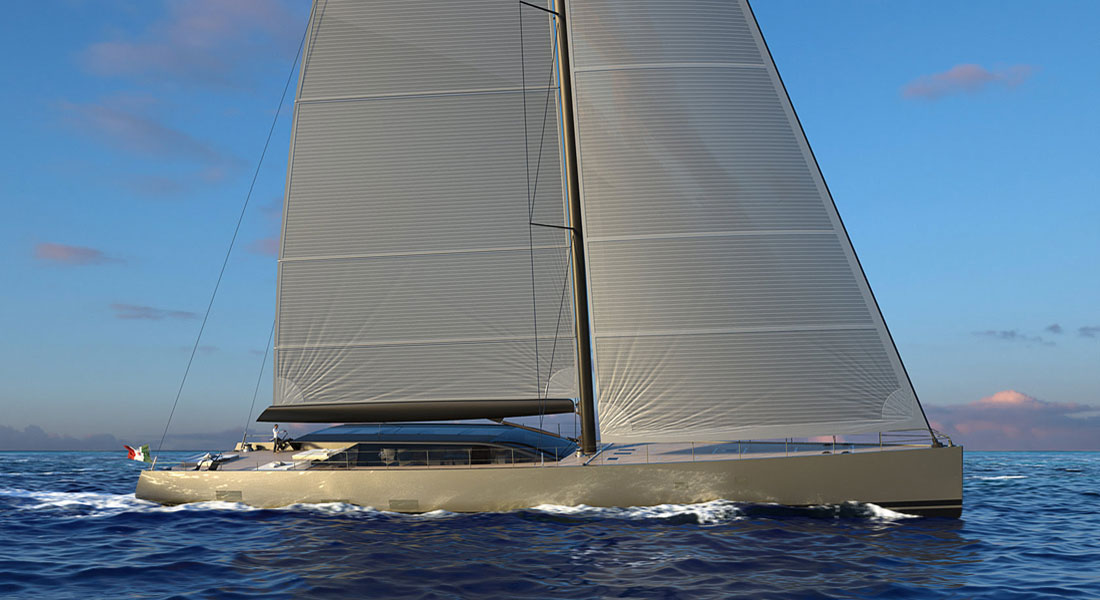 Perini Navi E-volution sailing superyacht hybrid