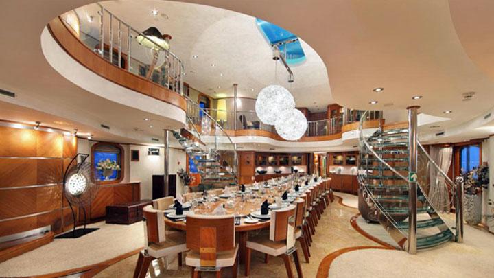 superyacht Sherakhan original dining atrium