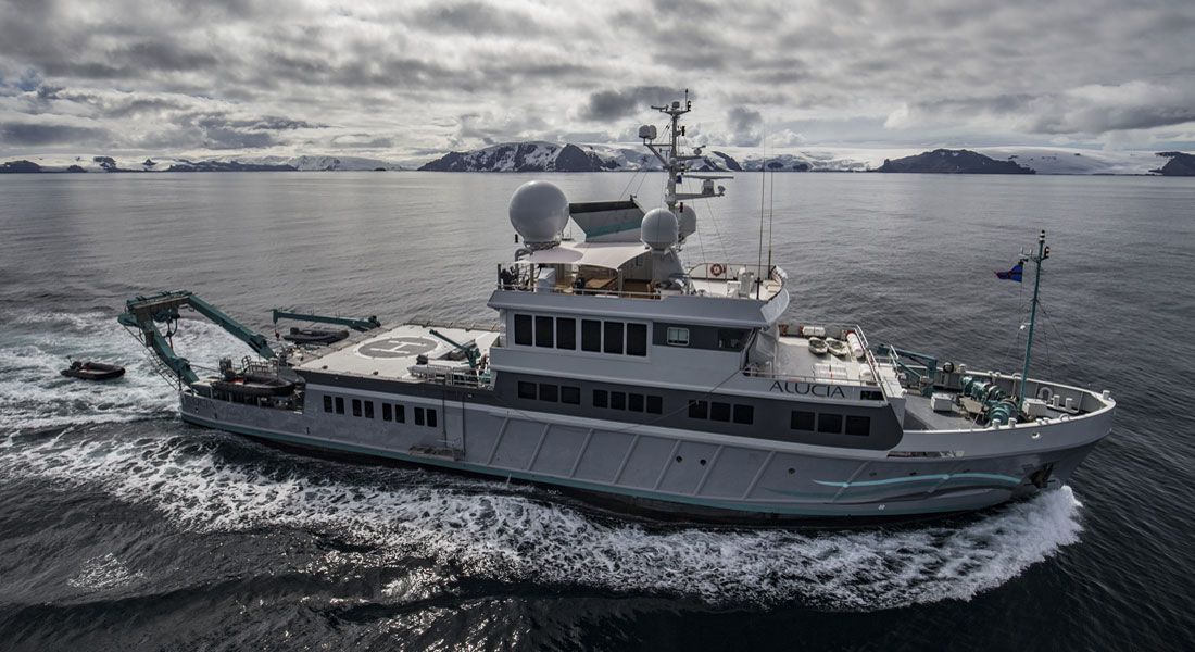 superyacht Alucia in Antarctica for BBC Blue Planet II