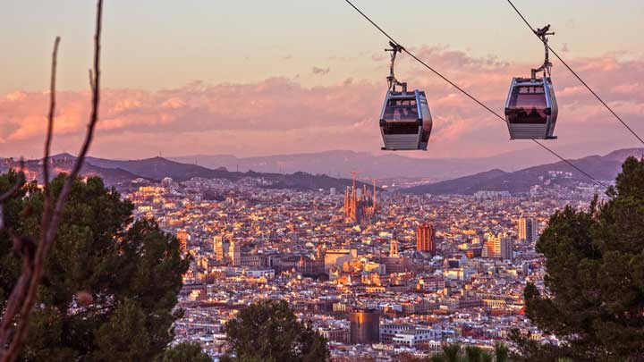 Barcelona yachting hub Montjuic cable car