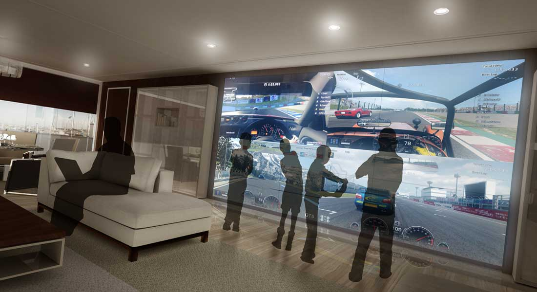 VBH superyacht entertainment systems game wall
