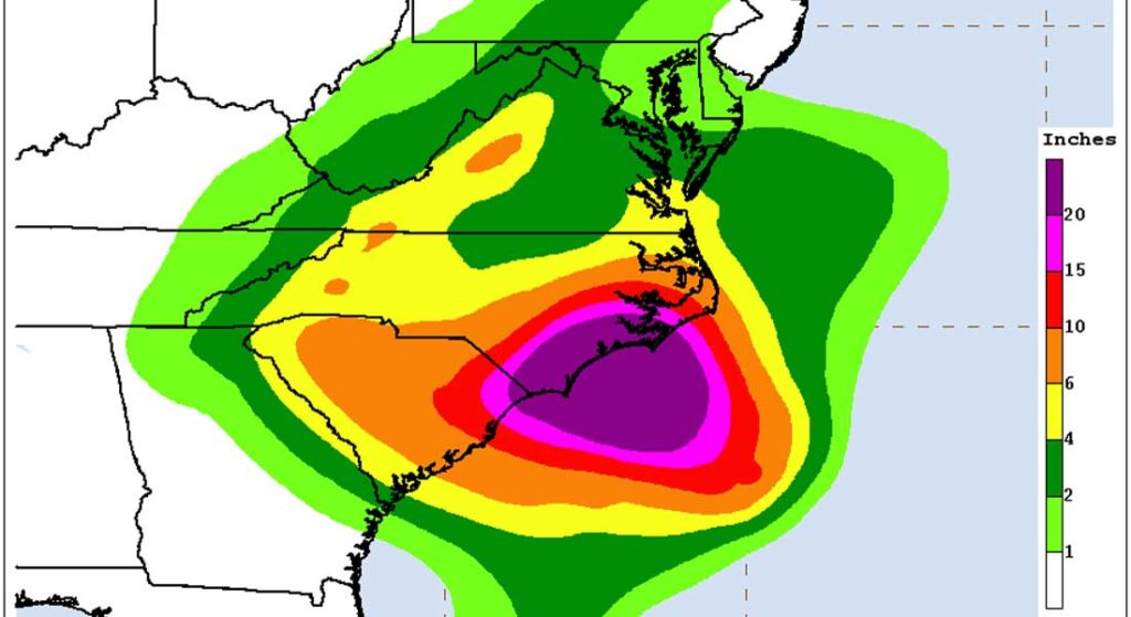 Hurricane Florence rainfall predictions