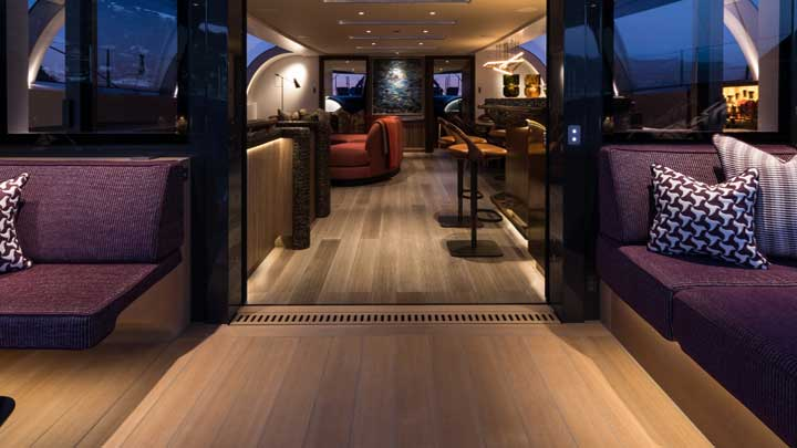 Pura sailing superyacht modern interior example