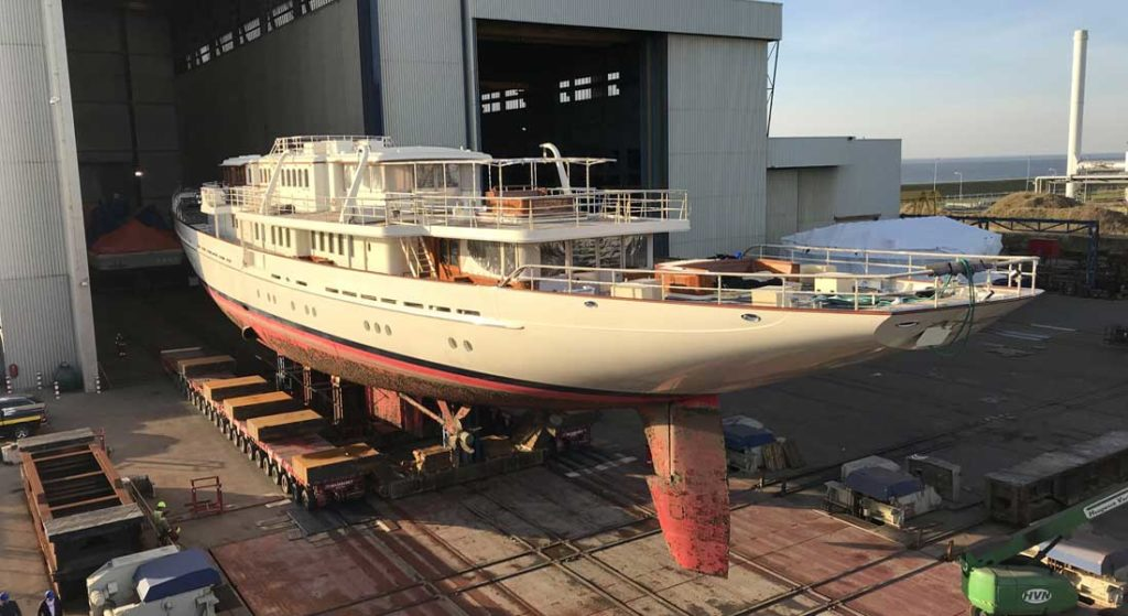 Athena sailing superyacht haul out Huisfit in 2018