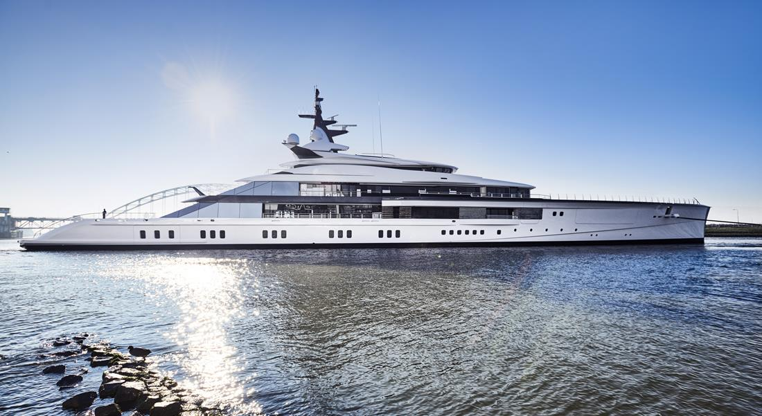 Oceanco megayacht Project Bravo; Bravo Eugenia is Jerry Jones' war room for the 2020 NFL draft