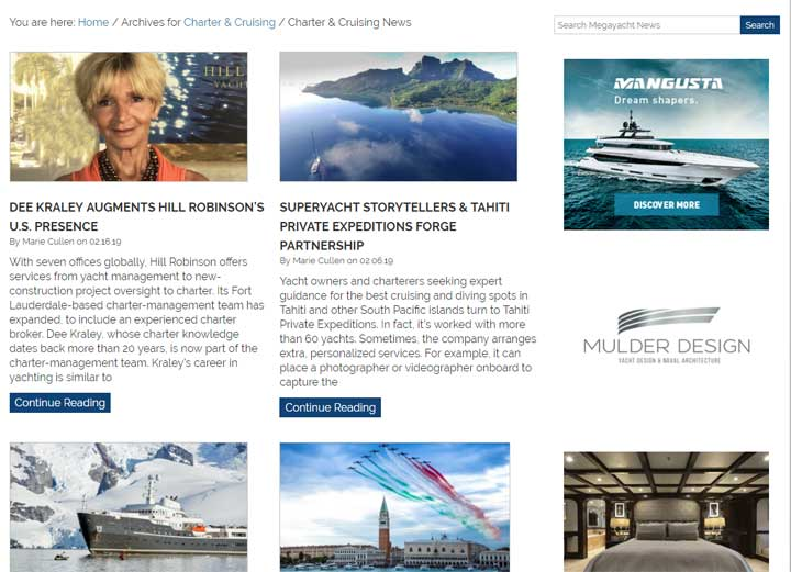 MegayachtNews.com redesign subcategory page