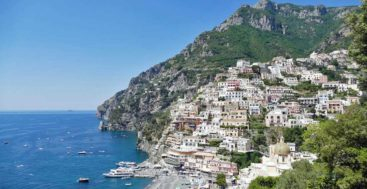 aerial view of Positano on the Amalfi Coast for Marina d'Arechi megayacht feature