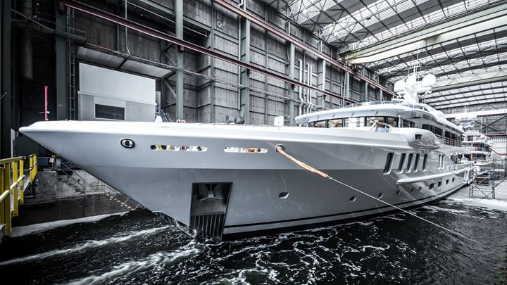 Amels 220 megayacht Project Waka in profile in shipyard