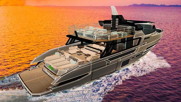 artist's rendering of the Arcadia Sherpa XL megayacht cruising