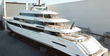 Columbus Yachts 80-meter megayacht Dragon outside of shed