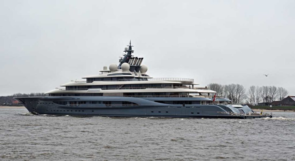 the Lurssen megayacht Flying Fox departing Germany