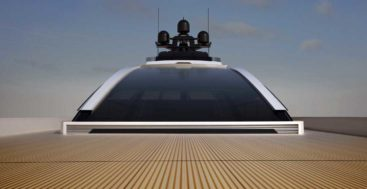 huge windshield of Crossbow megayacht concept design by ISA Yachts and Hydro Tec