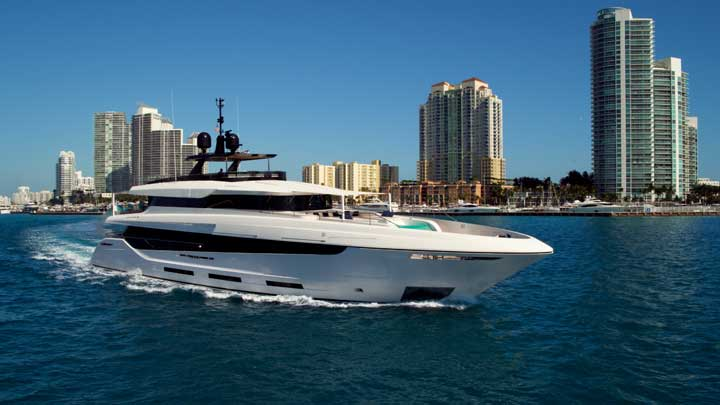 Mangusta Oceano Namaste megayacht cruising in Florida