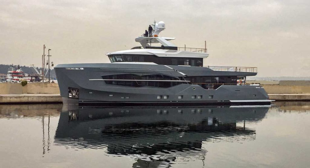 Numarine 32XP megayacht hull number three at launch