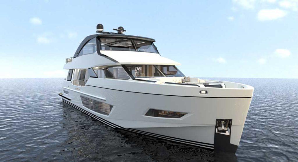 Ocean ALexander 84R megayacht artist's rendering of the exterior lines