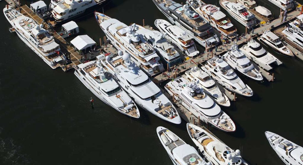 aerial view of the Palm Beach International Boat Show and some of the megayachts to see