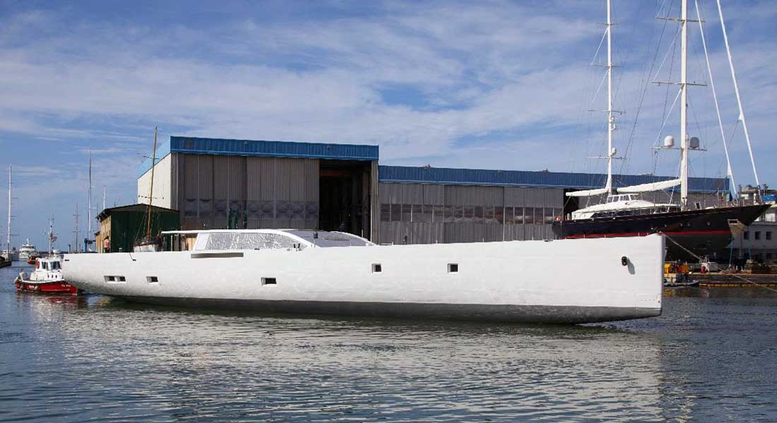 E-volution Hull Arrives at Perini Navi's Italian Yard