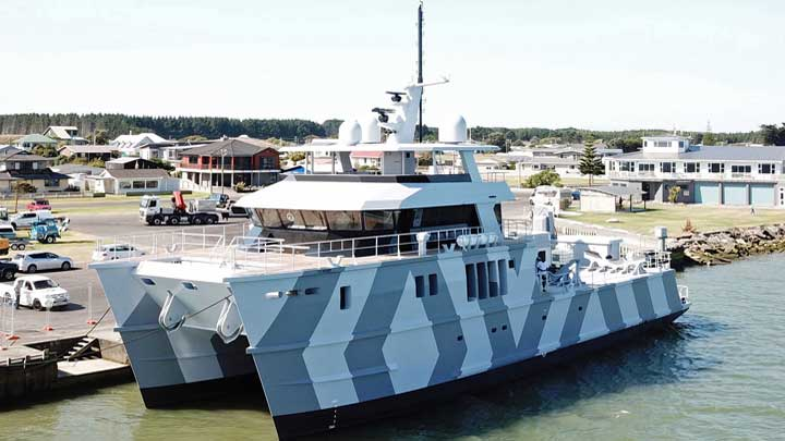 The Beast megayacht catamaran in the water