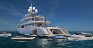 aft view of Turquoise Yachts megayacht 74M Vallicelli Design