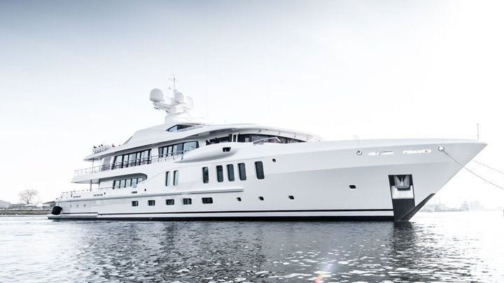 Amels 220 megayacht Aurora Borealis on the water
