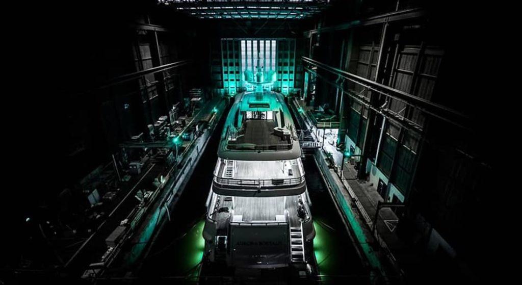 Amels 220 megayacht Aurora Borealis in the drydock