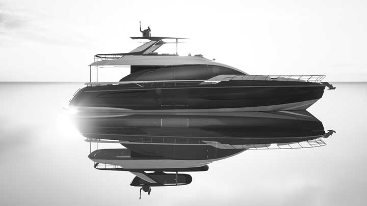 the Azimut 78 Fly megayacht in profile