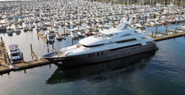 aerial view of Delta Marine's MLR megayacht in Elliott Bay Marina in Seattle