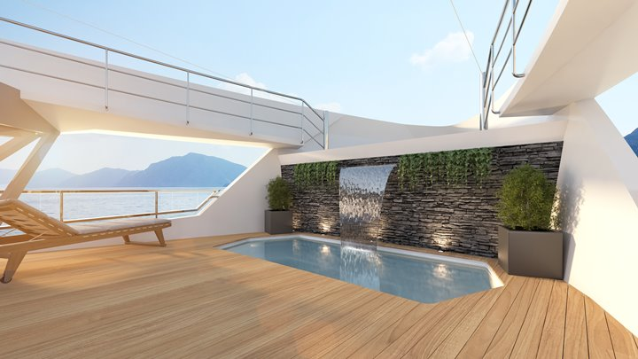 Numarine 45XP megayacht suggested waterfall outside master suite