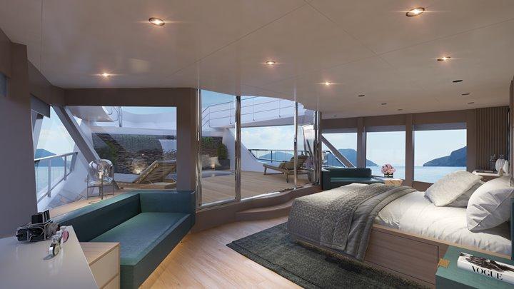 Numarine 45XP megayacht suggested master suite layout