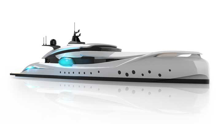 Roberto Curto's megayacht proposal Hypnosquid