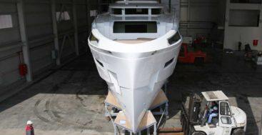 construction progress on the Sirena 88 megayacht