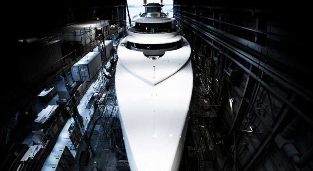 the superyacht Excellence as seen inside her build shed at Abeking & Rasmussen