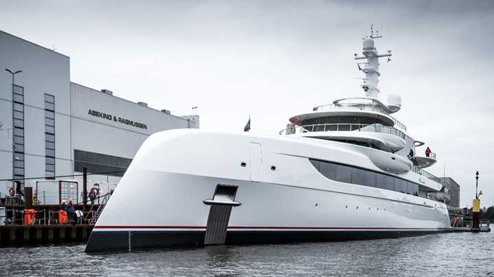 the superyacht Excellence launched at Abeking & Rasmussen in May 2019